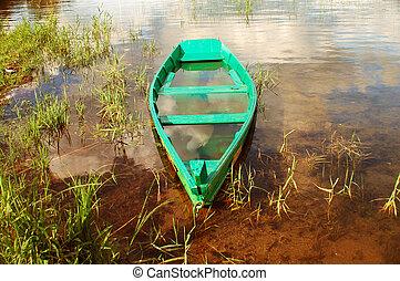hundido, boat.