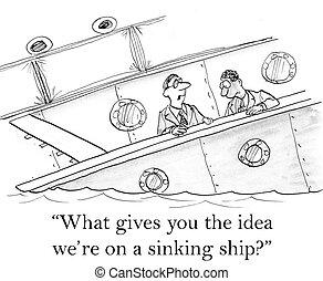 hundimiento, ejecutivos, titanic, preocupado