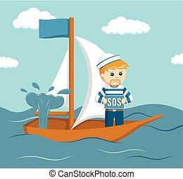 hundimiento, marineros, barco, pregunte, ayuda