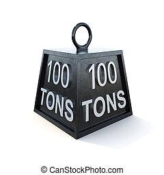 hundra, 100, tons, vikt, isolerat, på, white., 3, framförande