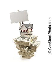 hundra, hus, dollar endossera, tom, liten, lagförslaget, buntar