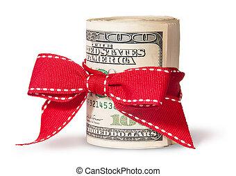 hundra, vertikal, dollar, bundet, en, röd, lagförslaget, rulle, band