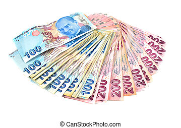 hundred and two hundred Turkish Lira on a white background