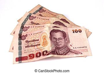 hundred baht banks, thai money on white background