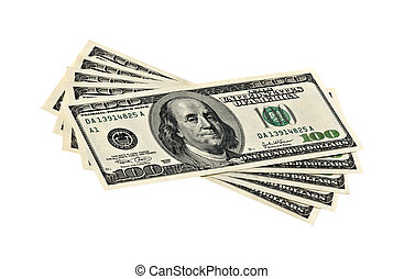Hundred dollar banknotes isolated on green background