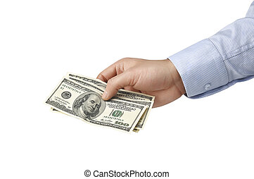 dollar bill in his hands isolated on white background