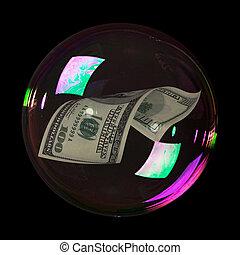 Hundred dollar bill into bubble on black