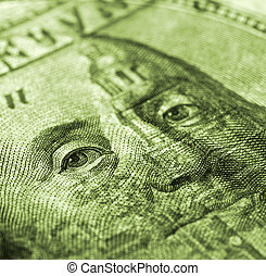 Hundred dollar bill macro shot - money detail background