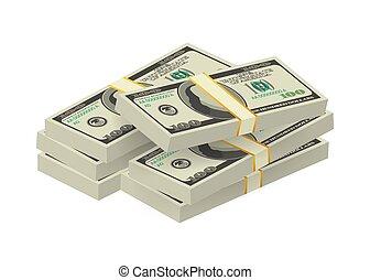 Hundred dollar bill on white background. Money. Vector stock illustration.