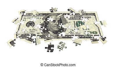 Hundred dollar bill puzzled