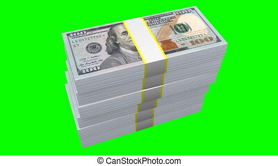 Hundred dollar bills - $100 - Stacked hundred dollar bills -...