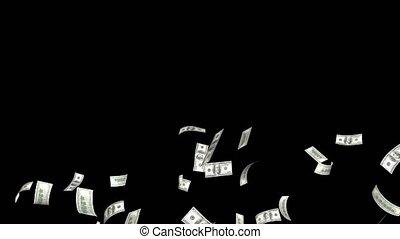 Hundred dollar bills dropping from above - Hundred dollar...