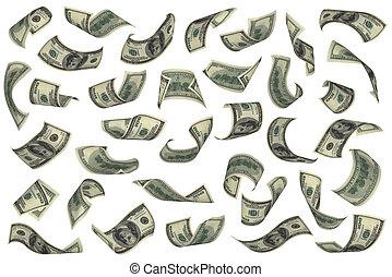 Hundred dollar bills falling on white background. No...