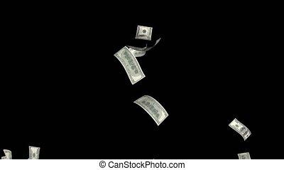 Hundred dollar bills falling - Hundred dollar bills fall...