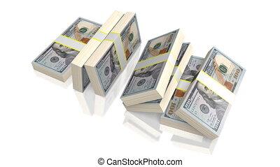 Hundred dollar bills - Falling hundred dollar bills on white...