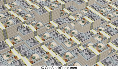 Hundred dollar bills - Stacked hundred dollar bills - great...