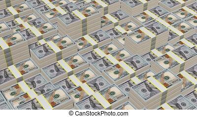 Hundred dollar bills - Stacked hundred dollar bills - great...