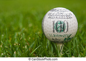 hundred dollar golf ball - Hundred dollar bill on a golf...