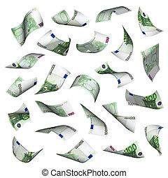 Hundred euro bills falling on white background. No overlap,...