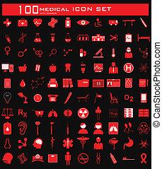hundred, medicinsk, ikon, sæt