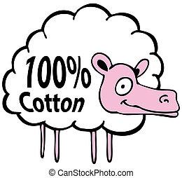 Hundred Percent Cotton Sheep - An image of a cartoon sheep...