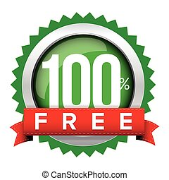 Hundred percent free badge with ribbon