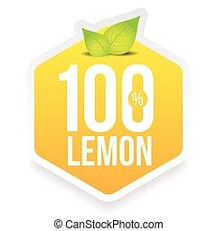 Hundred percent fresh lemon label vector