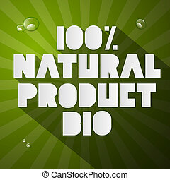 Hundred Percent Natural Product Bio Title on Green Background