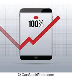 Hundred Percent Rebound Tablet - Vector illustration of...