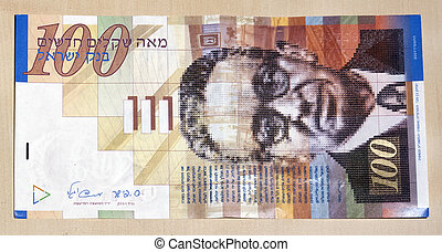 Hundred Shekel Note - A single 100 israeli shekel note, face...