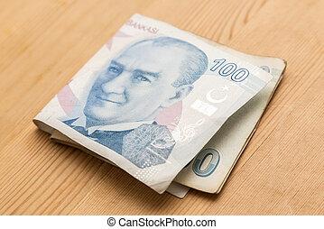 Hundred Turkish Lira bills on wooden table
