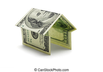 Hundred US dollar note in shape of house