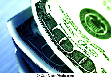 Hundred Dollar Bills With Color Tinting