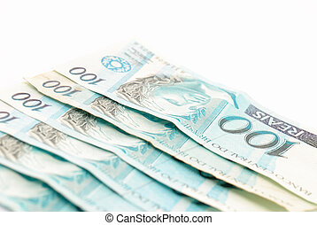 Hundred\\\'s of Brazilian real currency background .