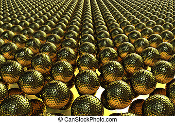 Render with several hundreds of golden golf balls lined up on a mirror. The medium depth of field, a randomized rotation for each ball, and highly detailed reflections makes this image quite realistic.
