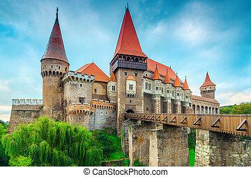hunedoara, 有名, ヨーロッパ, corvin, ルーマニア, 歴史的, 城, transylvania, すばらしい