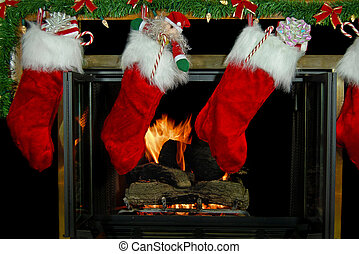 Hung Stockings - Christmas stockings hung on fireplace.
