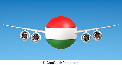 Hungarian airlines and flying's concept. 3D rendering