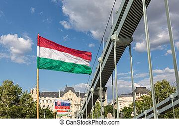 Hungarian and Slovak flag at chain bridge Budapest, Hungary...