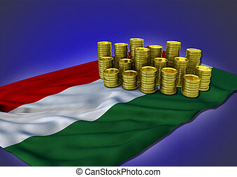 Hungarian economy concept with national flag and golden coins