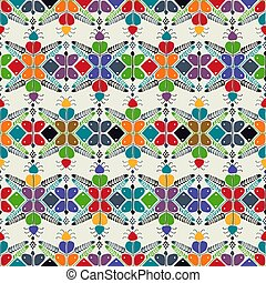 Hungarian embroidery pattern 18 - Seamless pattern design ...