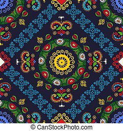 Hungarian embroidery pattern 25 - Seamless pattern design ...