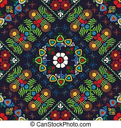 Hungarian embroidery pattern 36 - Seamless pattern design ...