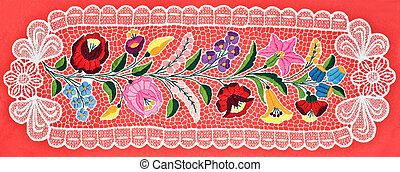 Hungarian embroidery table cloth over red background