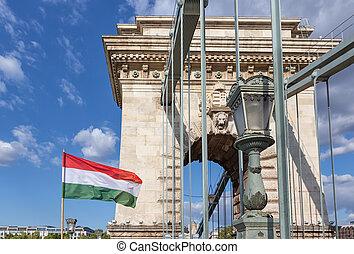 Hungarian flag at chain bridge Budapest, Hungary