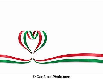 Hungarian flag heart-shaped ribbon. Vector illustration. -...