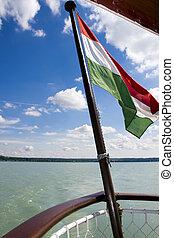 Hungarian flag on a ship
