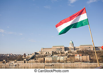 Hungarian flag over the Buda castle.