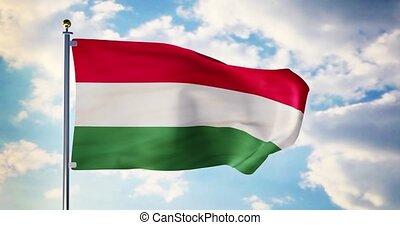 Hungarian flag waving in the wind shows hungary symbol of patriotism. Flagpole with national patriotic insignia - 4k 3d render