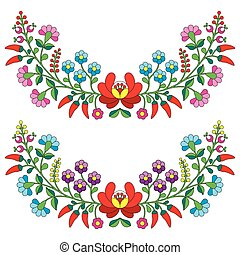 Hungarian floral folk pattern - Vector background -...